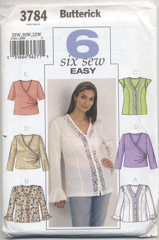Butterick 3784 Blouses Sewing Pattern Women's 28W 30W 32W Casual Office Feminine Mock Wrap Lace
