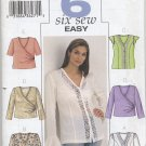 Butterick 3784 Blouses Sewing Pattern Women's 28W 30W 32W Casual Office Feminine Mock Wrap Lace