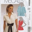 McCall's 5664 Flared Shirts Sewing Pattern Misses' 14 16 18 20 22 Self-Ties Summer Casual