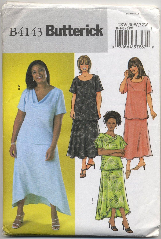 Butterick 4143 Top & Skirt Sewing Pattern Women's 28W 30W 32W Shaped Hem - Scoop or Draped Neckline