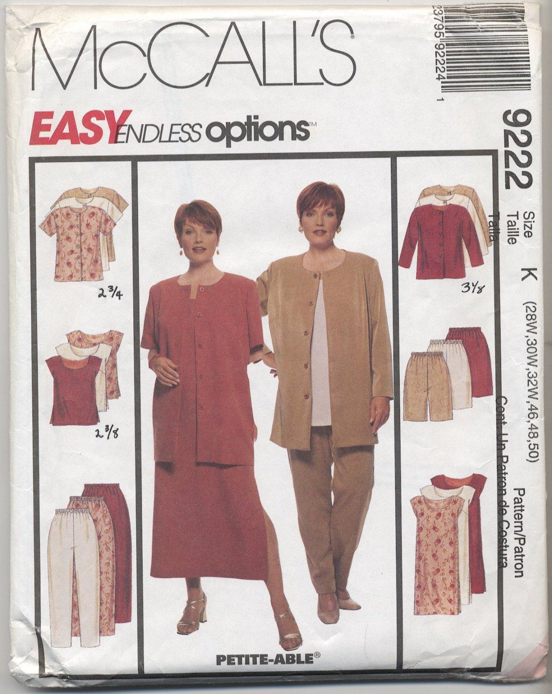 McCall's 9222 Easy Unlined Jacket Dress Top Pants & Shorts Sewing Pattern Women's 28W 30W 32W