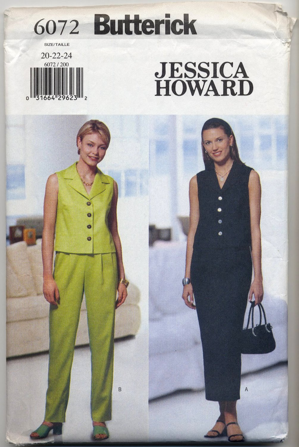 Butterick 6072 Designer Jessica Howard - Top Skirt & Pants Sewing Pattern - Misses' 20 22 24