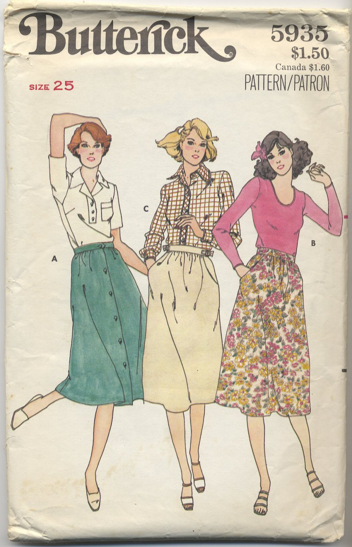 "Butterick 5993 Dirndl Skirt Sewing Pattern Misses' 10 Waist 25"" Sweet Versatile Wardrobe Builder"