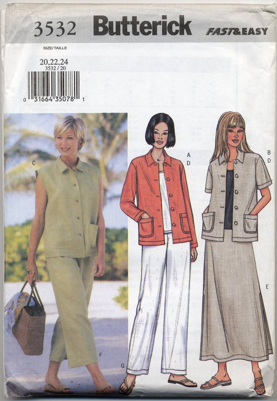 Butterick 3532 Jacket Vest Top Skirt Pants Sewing Pattern Misses' 20 22 24 Summer Casual Sportswear