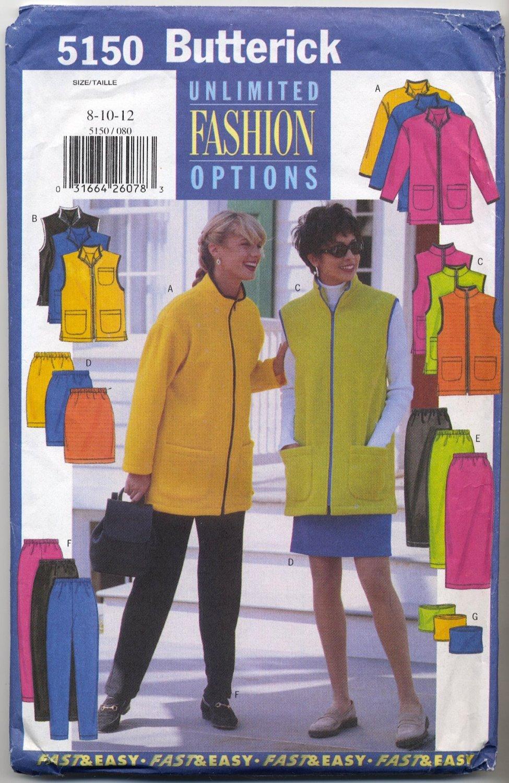 Butterick 5150 Unlined Jacket or Vest Skirt Pants & Tube Sewing Pattern Misses' 8 10 12