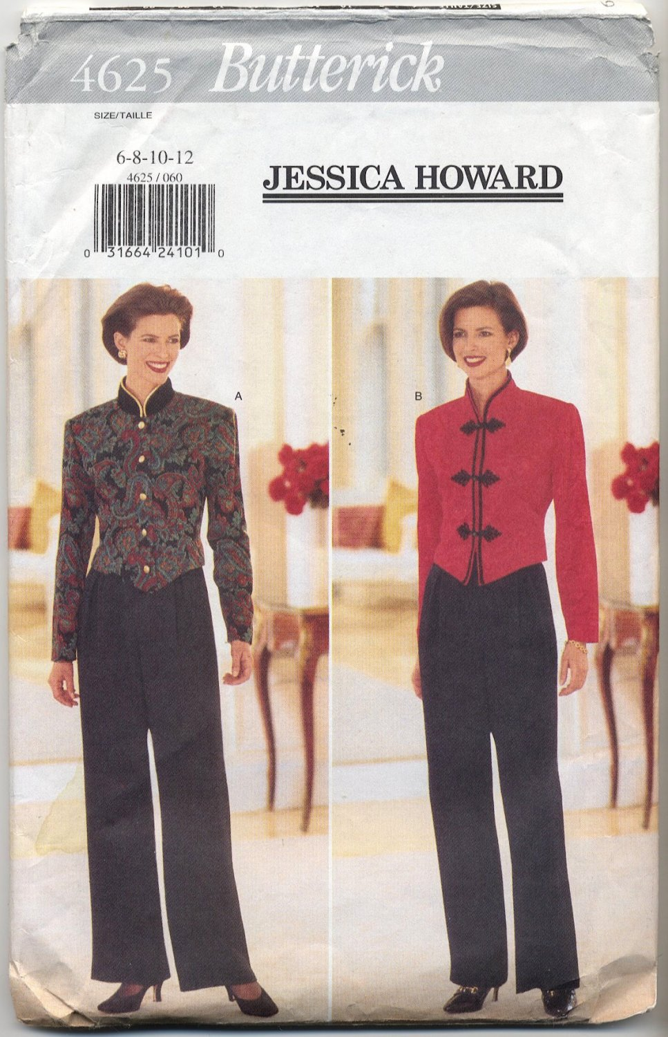 Butterick 4625 Jessica Howard Top & Pants Sewing Pattern Misses' 6 8 10 12 Evening Elegance