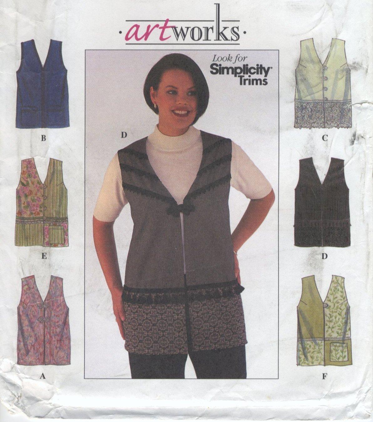 Simplicity 8631 Artworks Vests Sewing Pattern Women's 18W 20W 22W 24W