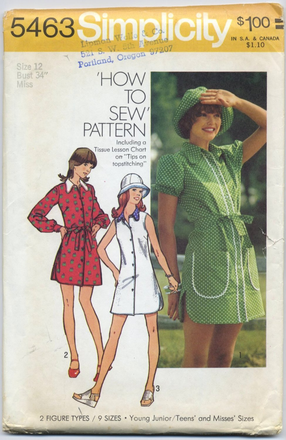 "Simplicity 5463 Mini-Dress and Hat - - Sewing Pattern Misses' 12 Bust 34"" Sweet Vintage 70s Look"