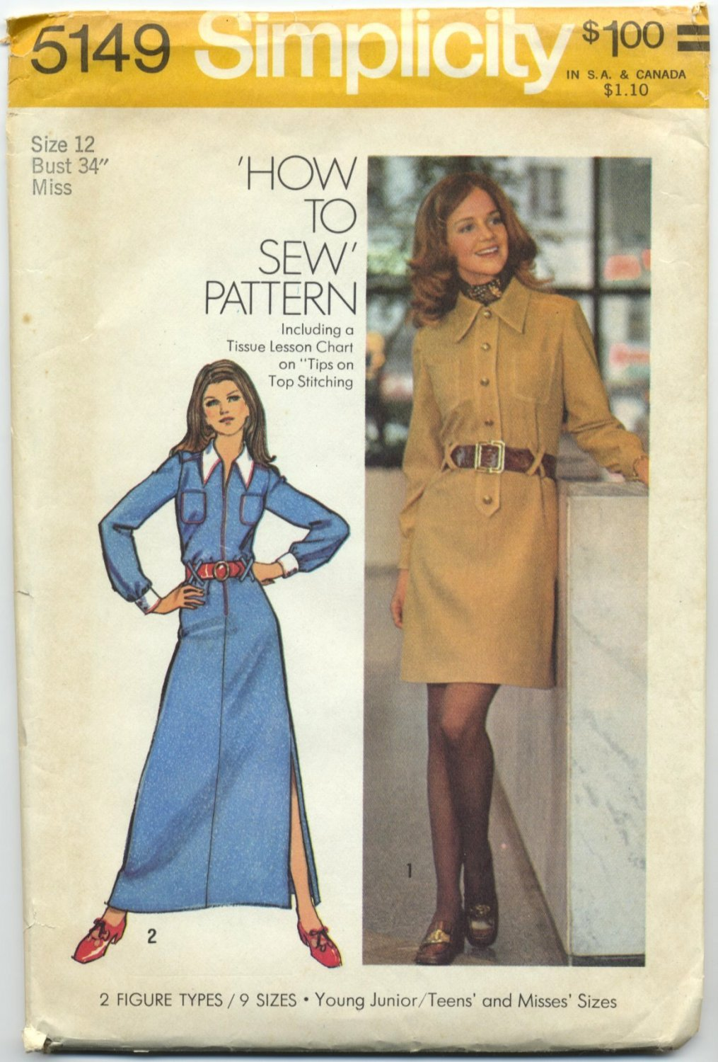 """Simplicity 5149 Shirt-Dress in Two Lengths - - Sewing Pattern Misses' 12 Bust 34"""" Vintage 70s Look"""