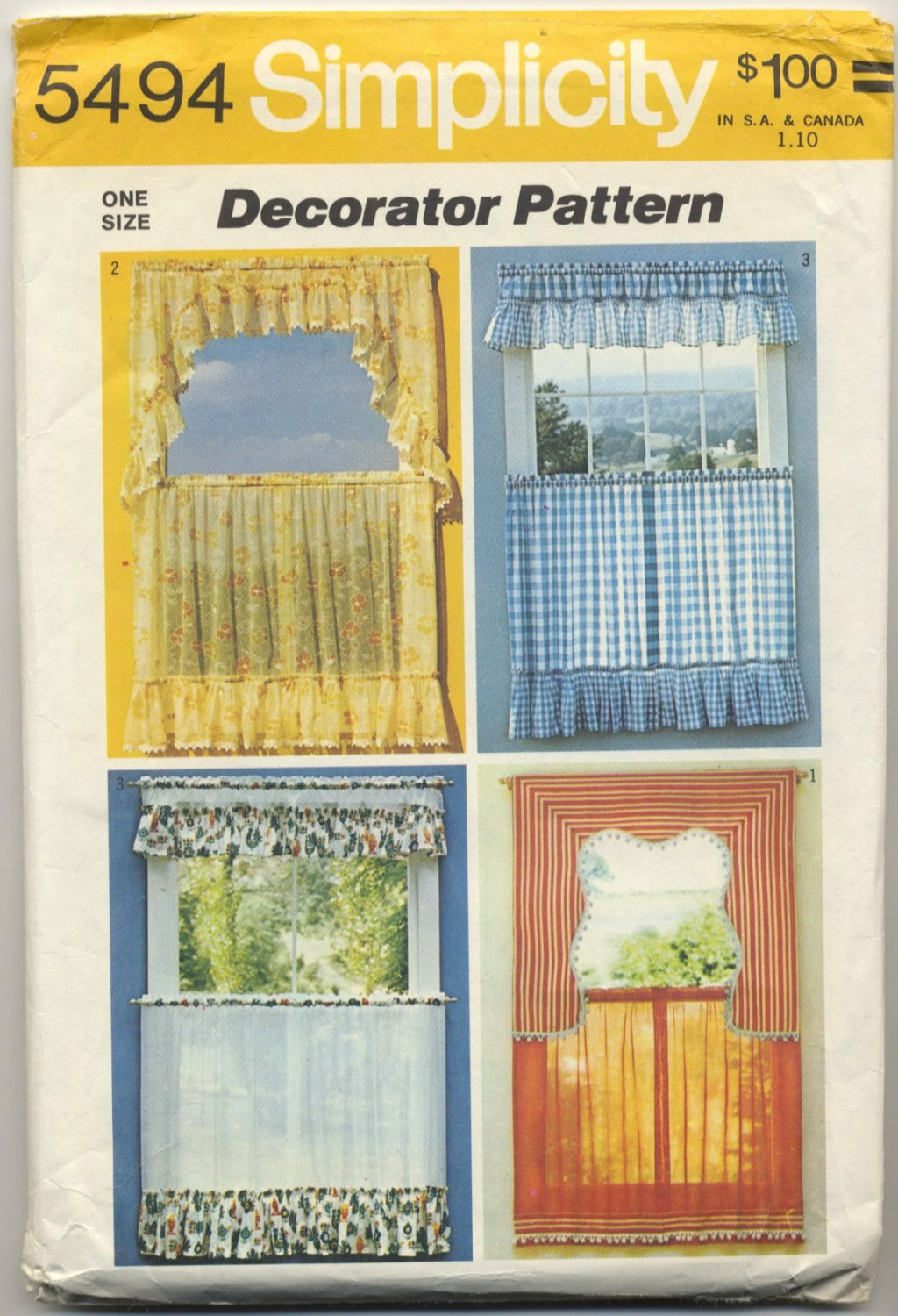 Simplicity 5494 Set Of Curtains Decorator Sewing Pattern One Size Vintage 70s Kitchen Look