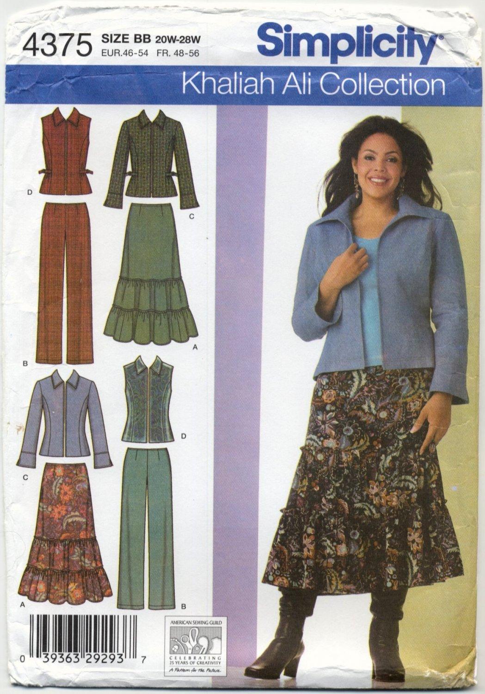 Simplicity 4375 Skirt Pants Jacket Vest - Khaliah Ali Sewing Pattern Women's 20W-28W Stylish Winter