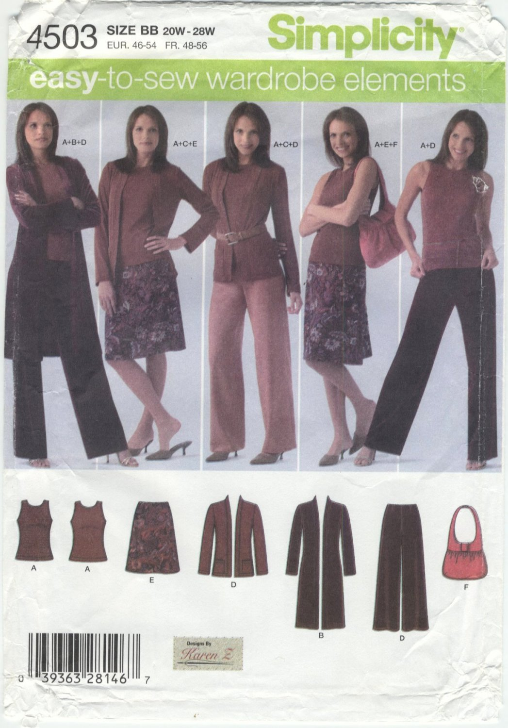 Simplicity 4503 Top Cardigan Pants Skirt Bag - Sewing Pattern Women's 20W-28W Easy Wardrobe Builder