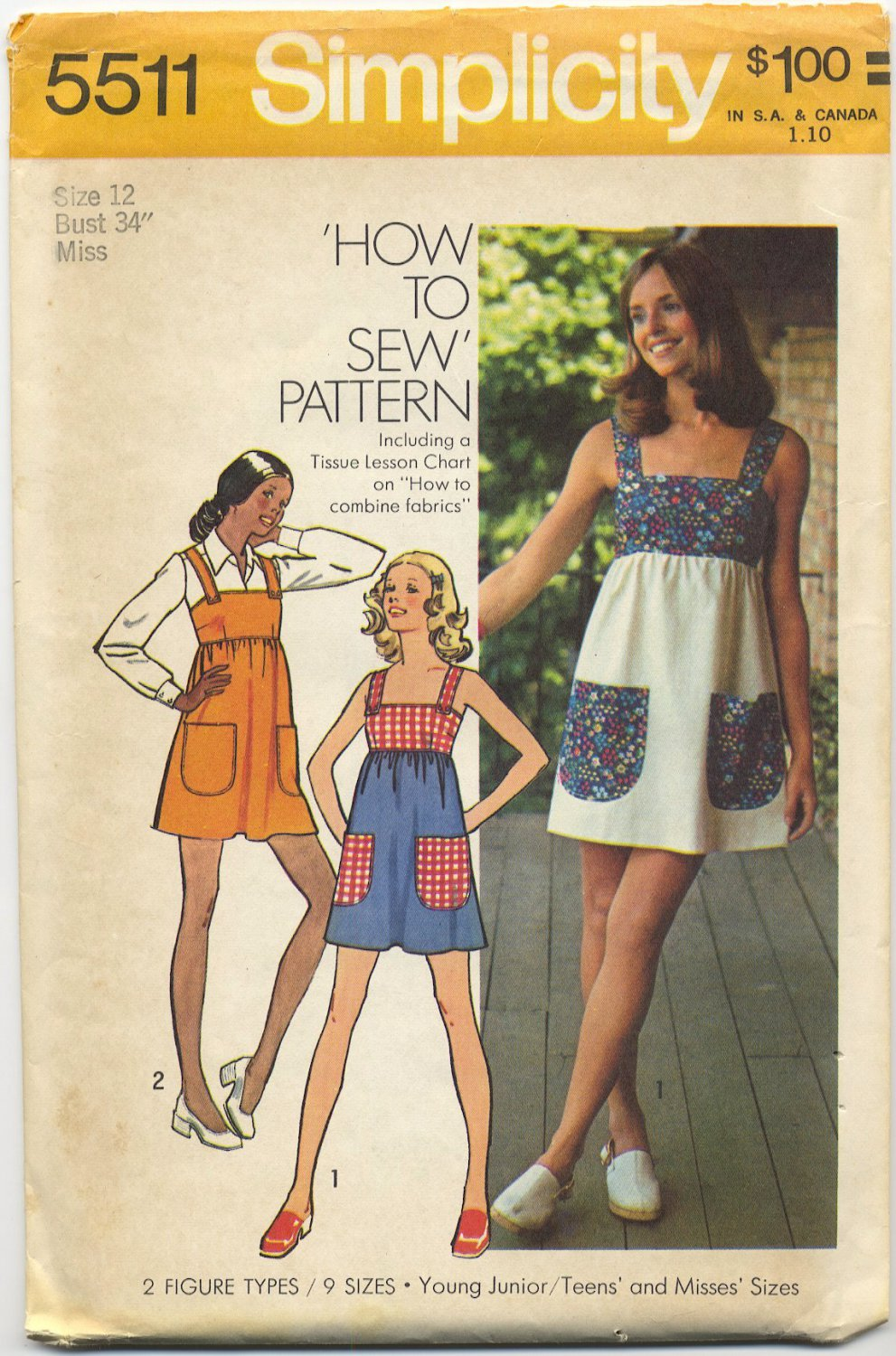"Simplicity 5511 Mini-Dress or Jumper - - Sewing Pattern Miss Size 12 Bust 34"" Easy Classic 70s"