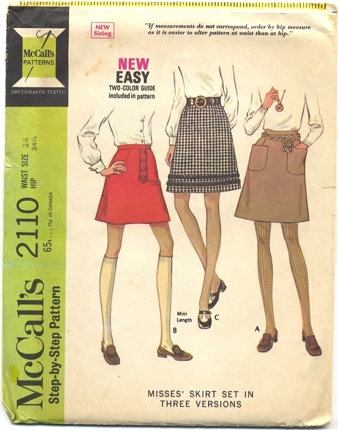 """McCall's 2110 Skirt Set """"New Sizing"""" Sewing Pattern - Waist Size 24"""" Vintage 1969 60s"""
