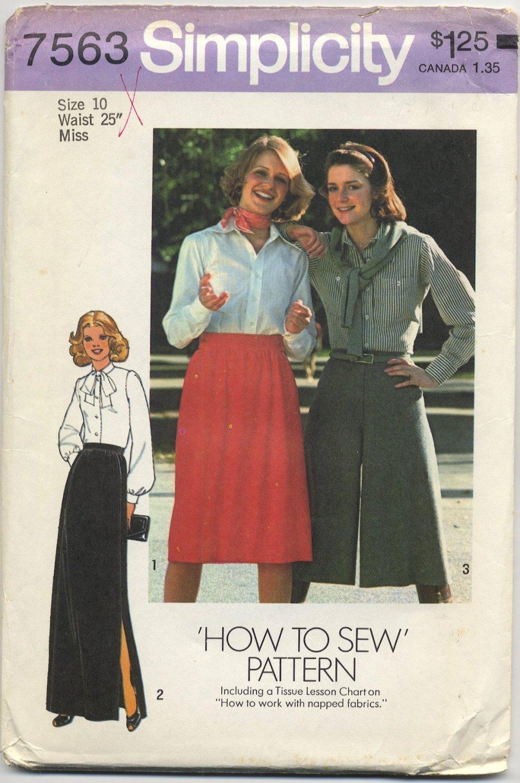 """Simplicity 7563 Skirt & Pantskirt - - Sewing Pattern Miss Size 10 Waist 25"""" Classic 70s A-Line"""