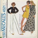 "McCall's 4521 Misses' Dress or Top Sewing Pattern - Size Small 10-12 Bust 32-1/2""-34"" 1970s"