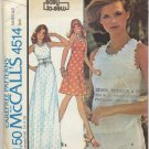 "McCall's 4514 Dress or Top - - Easy Sewing Pattern - - Misses' 12 Bust 34"" 70s Summer Bliss"
