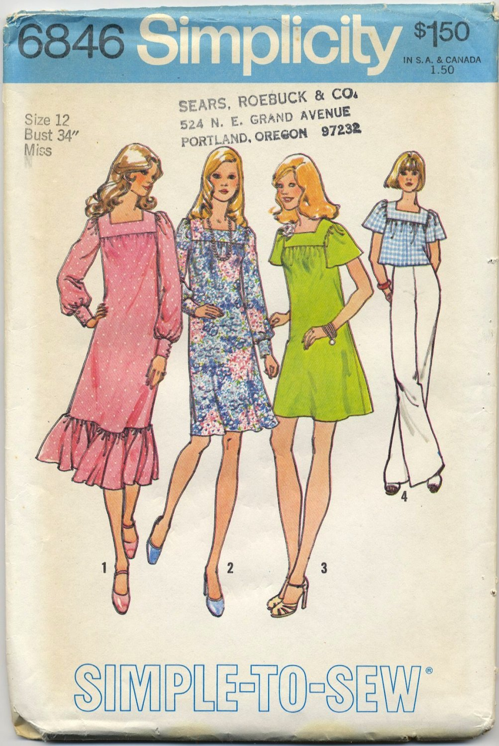 """Simplicity 6846 Dress in Three Lengths or Top - Easy Sewing Pattern Miss Size 12 Bust 34"""" Retro 70s"""