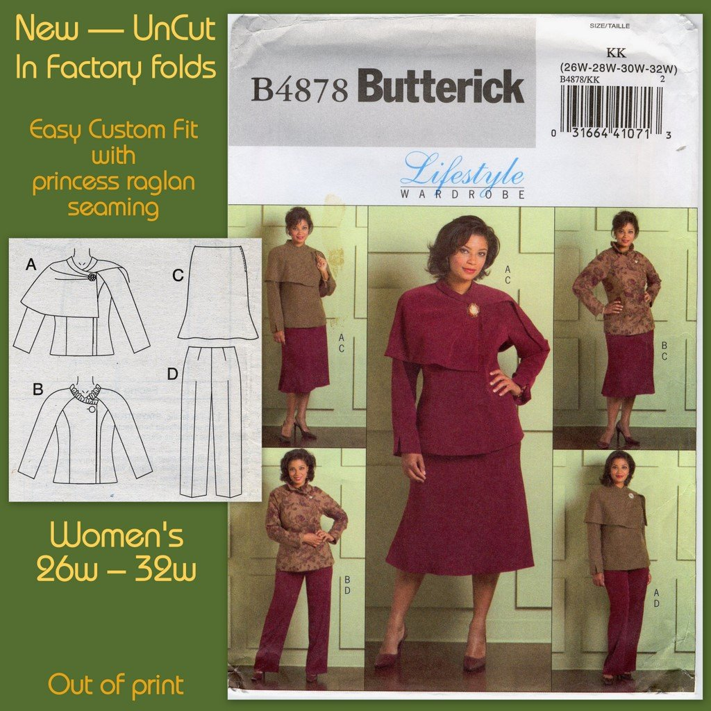 Butterick 4878 Jacket Skirt & Pants Sewing Pattern Women's 26W 28W 30W 32W Career Office Wardrobe