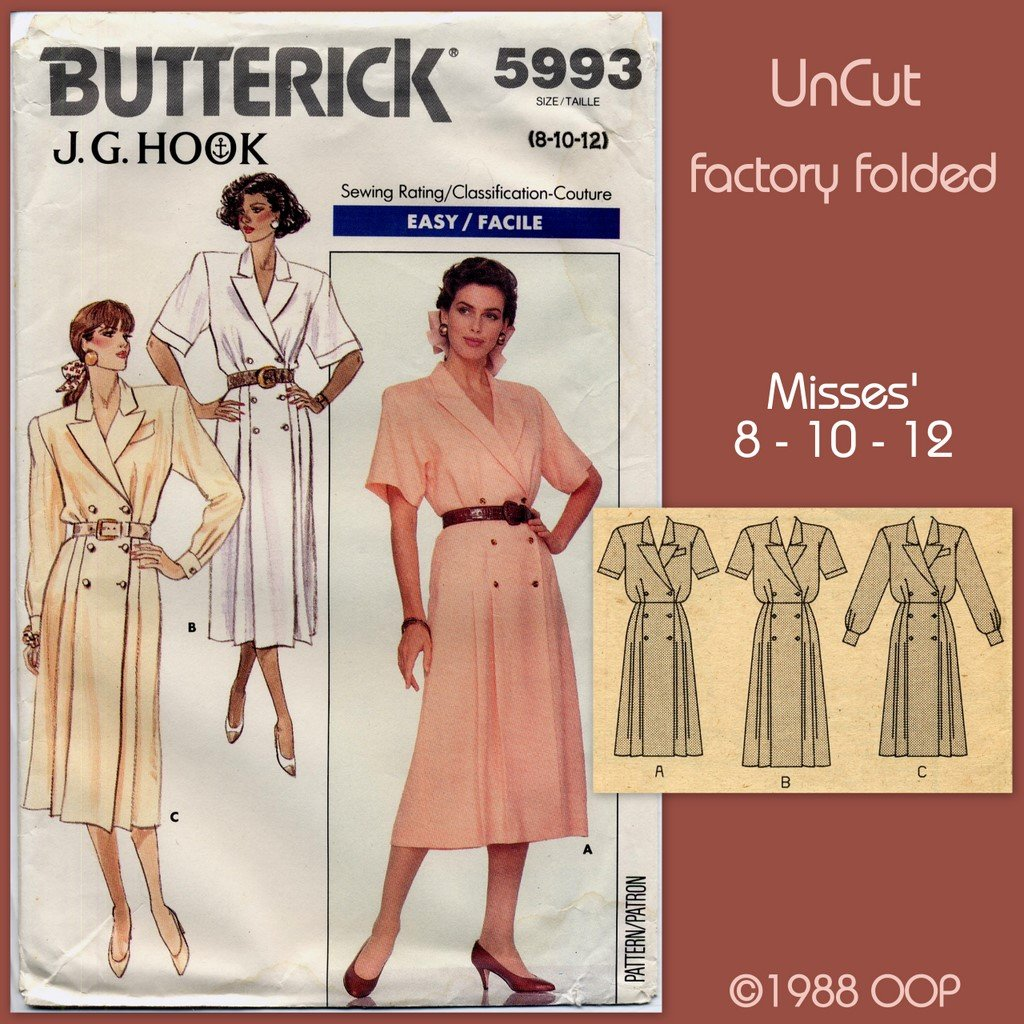 Butterick 5993 Designer J G Hook Dress Sewing Pattern Misses' 8 10 12 Double Breasted Pleated A-Line
