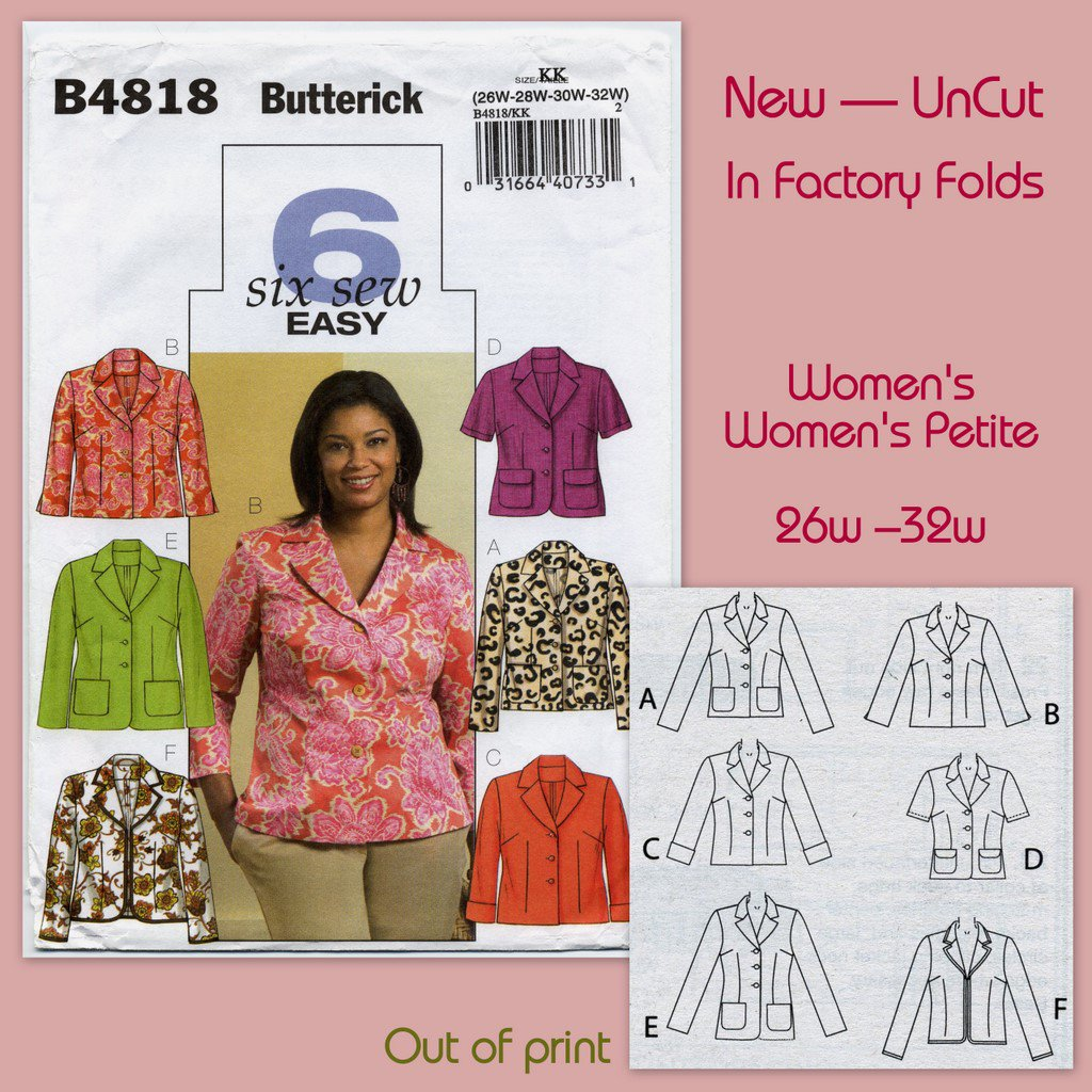 Butterick 4818 Unlined Jackets - - Easy Sewing Pattern Women's 26W 28W 30W 32W