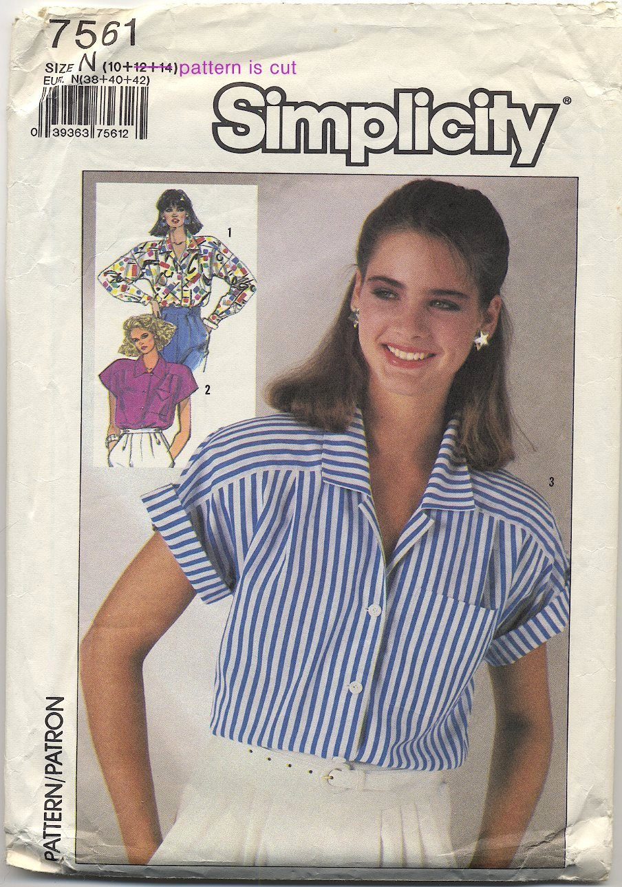 Simplicity 7561 Shirts (Cut) Sewing Pattern Misses' Size 10 Bust 32-1/2 Circa 1980s Blouse