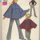 Simplicity 7871 Ponchos & Bell-Bottom Pants (Cut) Sewing Pattern Misses' Size 12 Bust 34 Circa 1960s