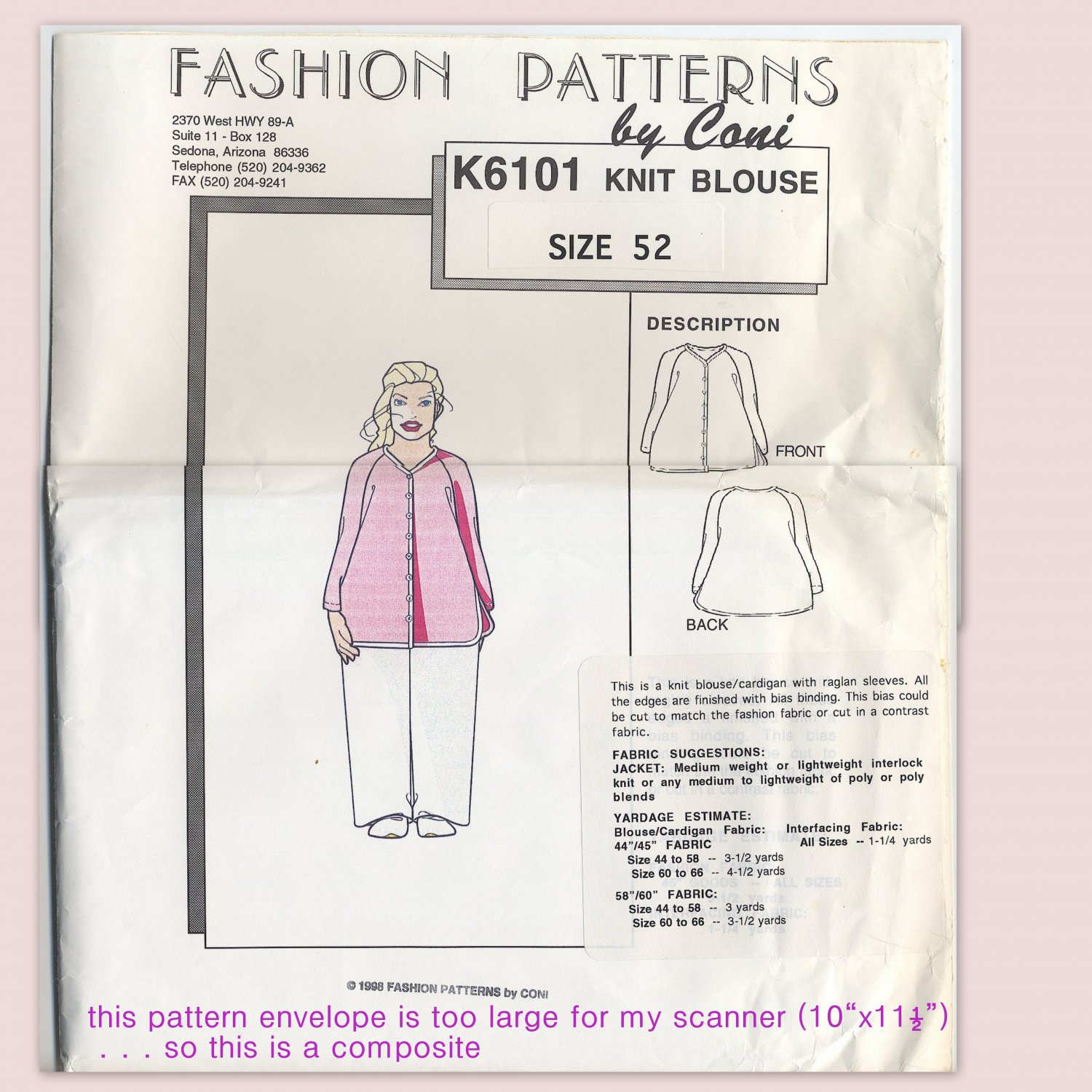Fashion Patterns K6101 Raglan Knit Blouse (Cut) - - A Connie Crawford Early Sewing Pattern Size 52