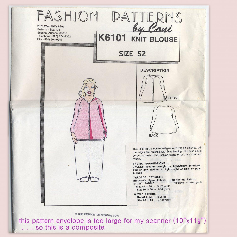 Fashion Patterns K6101 Raglan Knit Blouse (Cut) - - A Connie Crawford Early Sewing Pattern Size 52