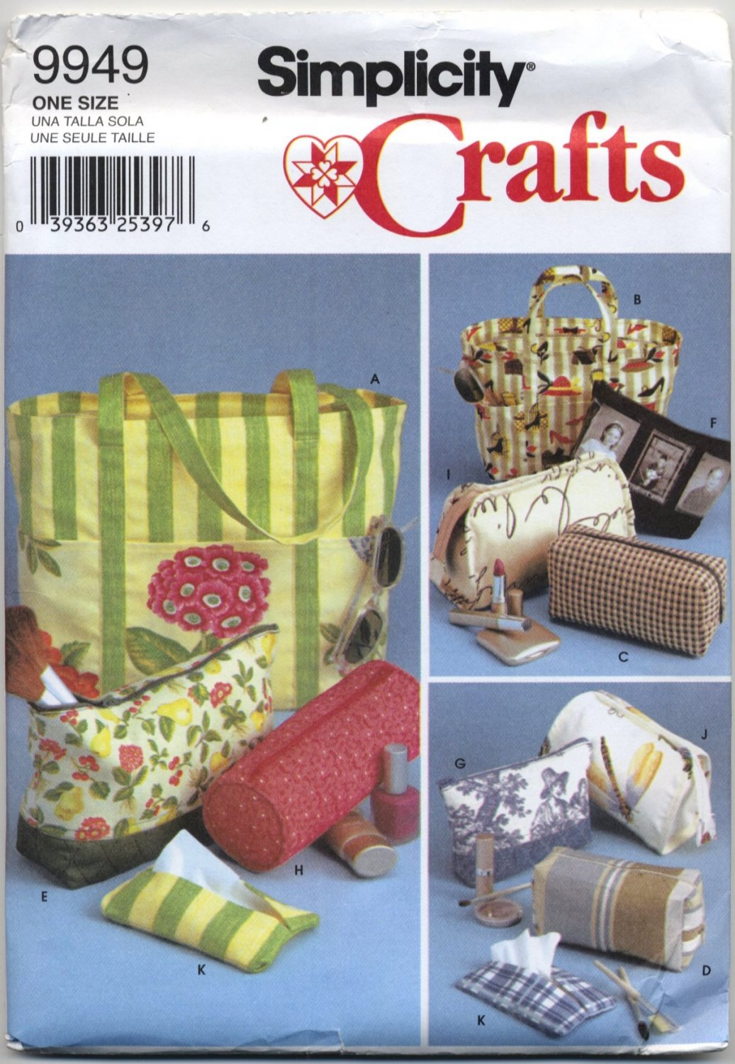 Simplicity Crafts 9949 Totes & Zippered Accessory Bags - Sewing Pattern - Tissue Cover Too