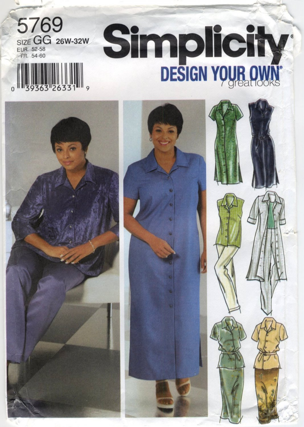 Simplicity 5769 Shirt-Dress, Shirt, Skirt & Pants - Sewing Pattern Women's 26W 28W 30W 32W