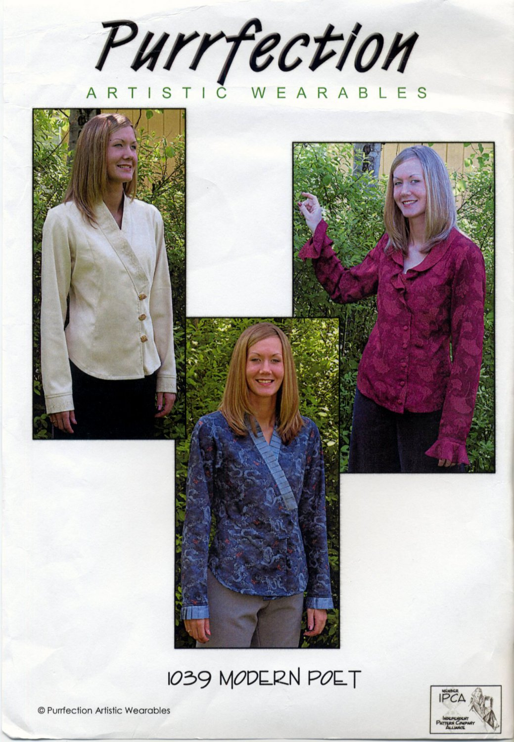 "Purrfection Artistic Wearables 1039 Modern Poet Blouse Sewing Pattern - Sizes XS-5X Bust 30""-62"""