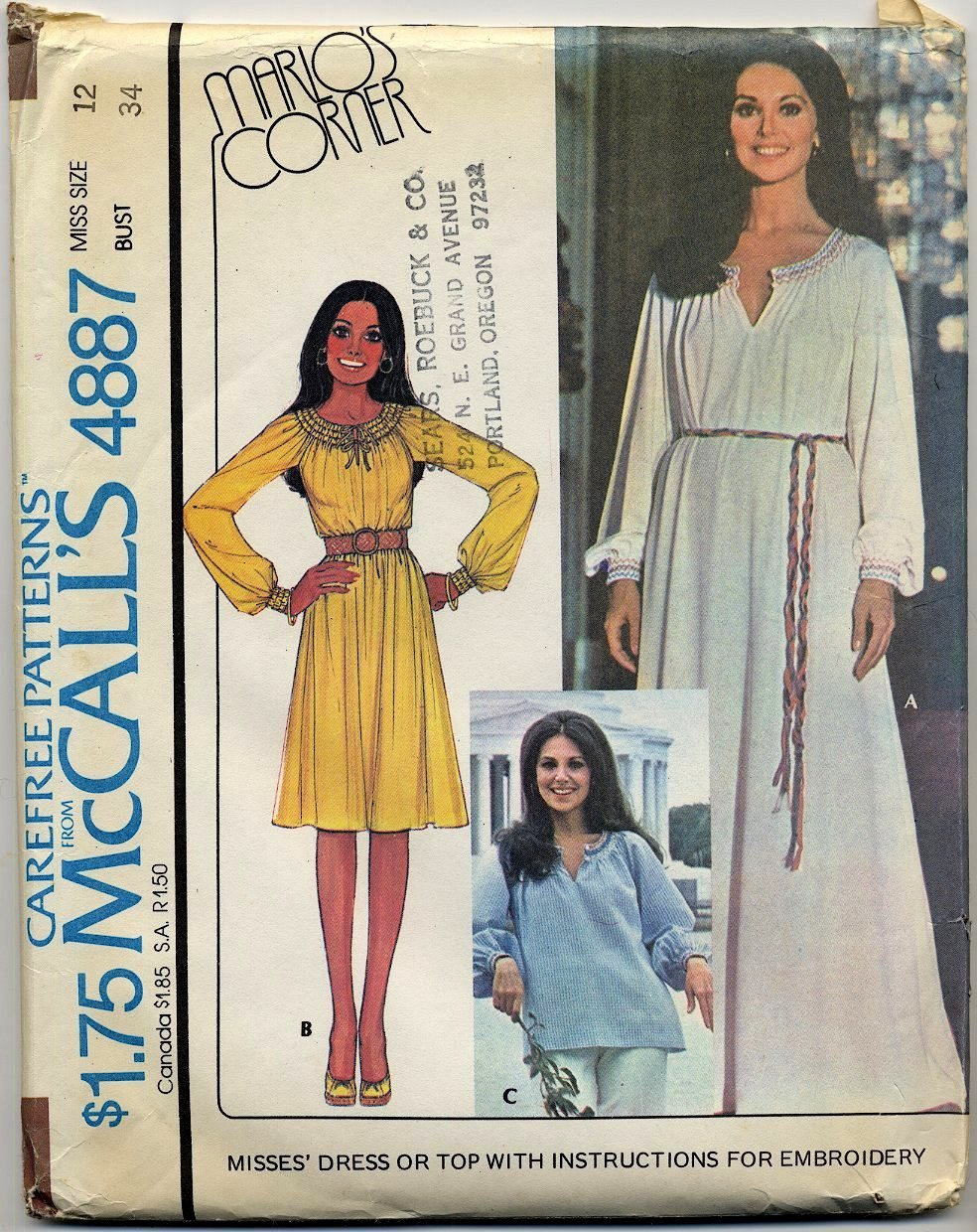 """McCall's 4887 Dress or Top / Embroidery - Marlo's Corner 1970s Sewing Pattern - Miss 12 Bust 34"""""""