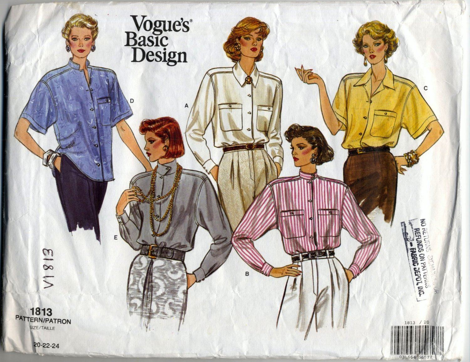 Vogue 1813 Shirt - Vogue Basic Design Sewing Pattern - Misses' 20-24 Bust 42-46 - Wardrobe Builder