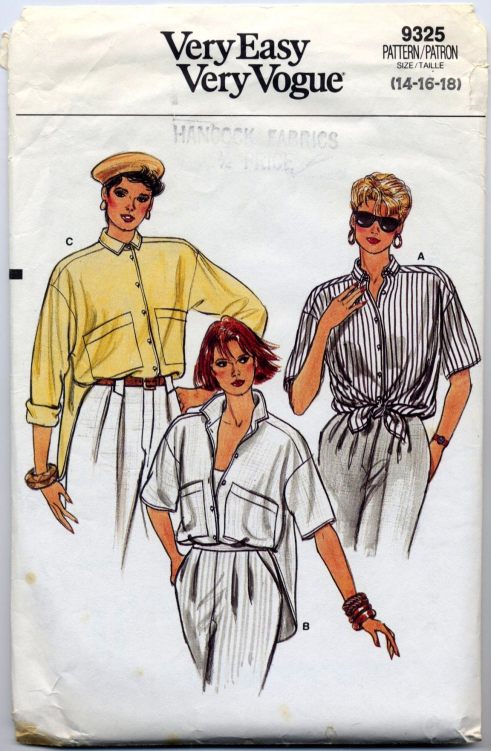 Vogue 9325 Shirt - Very Easy CUT Sewing Pattern - Misses' 14 16 18 Wardrobe Builder 80s Chic