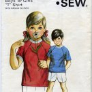 Kwik Sew 345 Boys' or Girls' Raglan T Shirt Sewing Pattern Sizes: Ages 2 4 6