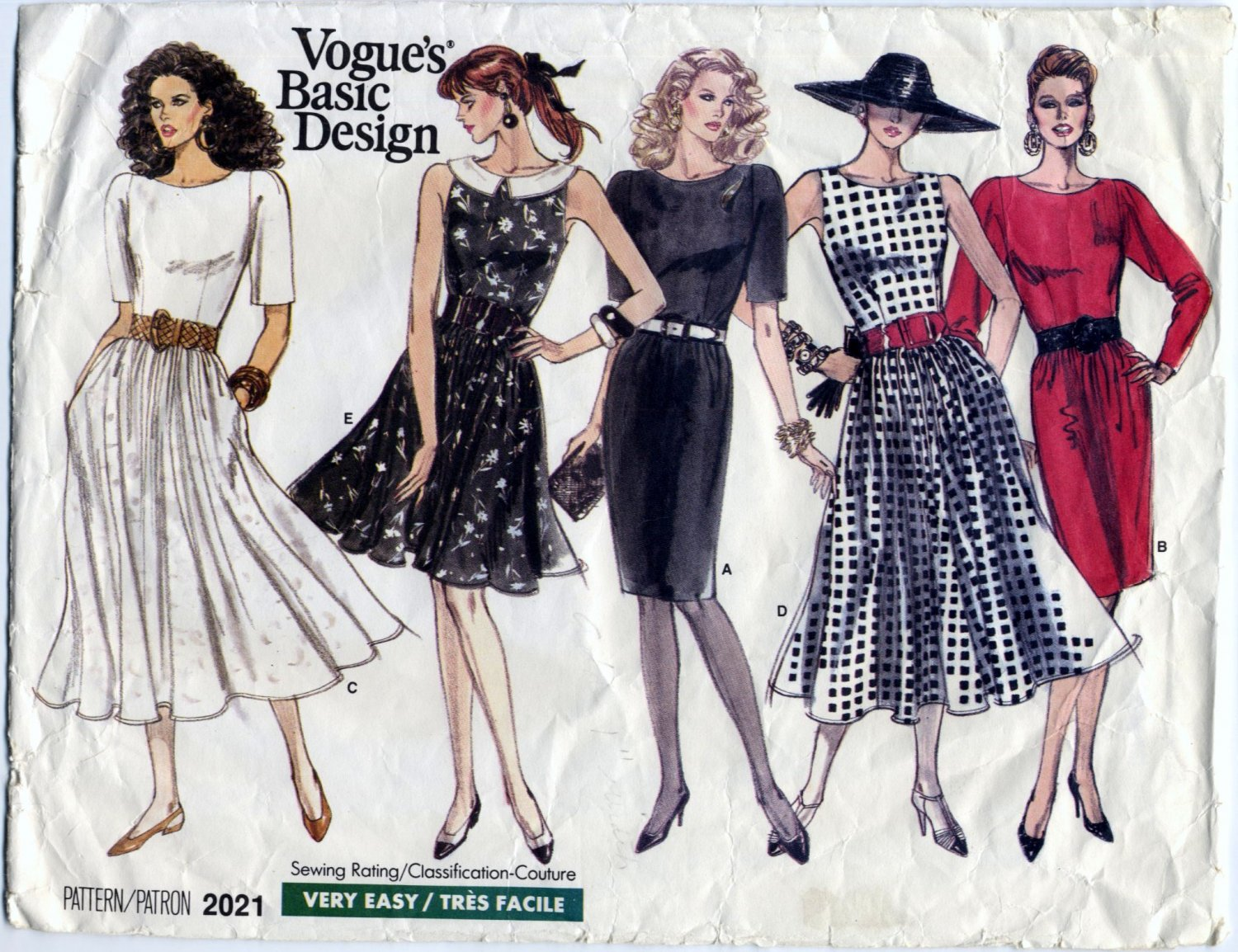 Vogue 2021 Basic Design Dresses - Very Easy CUT Sewing Pattern - Misses' 12 80s Chic 50s Vibe