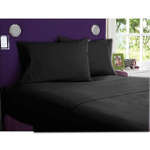 NEW 1000TC 4PCs BED SHEET SET QUEEN SOLID BLACK 100% EGYPTIAN COTTON