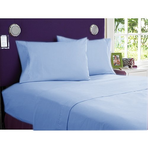 NEW 1000TC 4PCs BED SHEET SET QUEEN SOLID SKY BLUE 100% EGYPTIAN COTTON