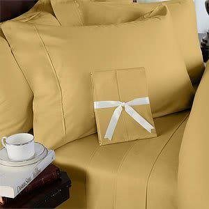 NEW 1000TC 4PCs BED SHEET SET QUEEN SOLID GOLD100% EGYPTIAN COTTON