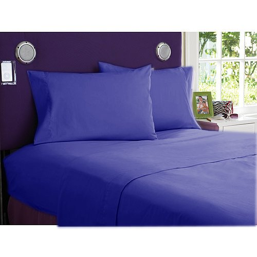 NEW 1000TC 4PCs BED SHEET SET QUEEN SOLID EGYPTIAN BLUE 100% EGYPTIAN COTTON