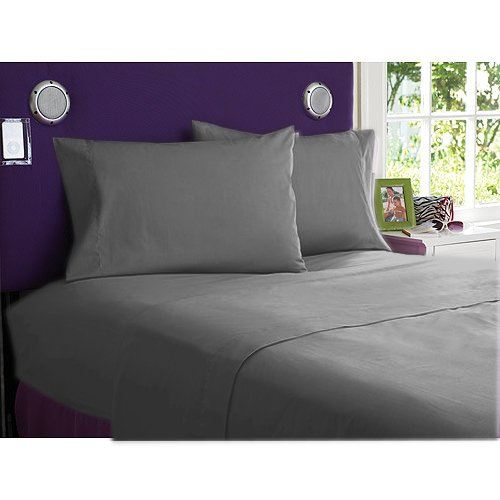 NEW 1000TC 4PCs BED SHEET SET QUEEN SOLID ELEPHANT GREY 100% EGYPTIAN COTTON