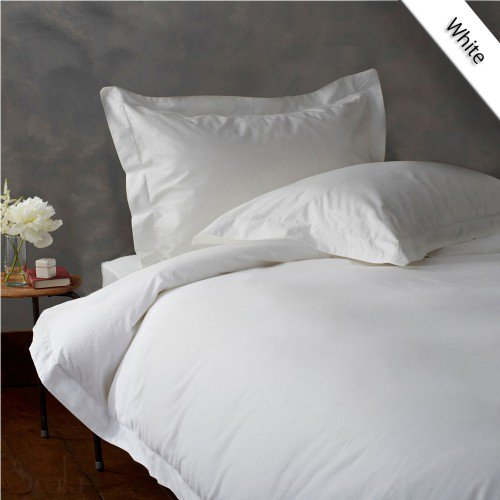 600TC SOLID FULL/QUEEN 3PC WHITE DUVET/DOONA/QUILT COVER SET 100% EGYPTIAN COTTON