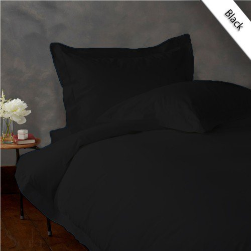 600TC SOLID FULL/QUEEN 3PC BLACK DUVET/DOONA/QUILT COVER SET 100% EGYPTIAN COTTON