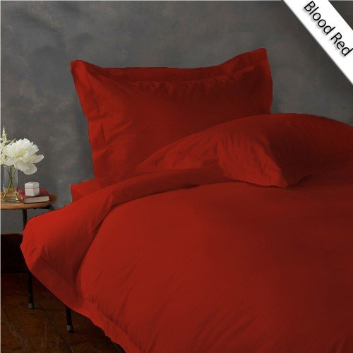 800TC SOLID FULL/QUEEN 3PC BLOOD RED DUVET/DOONA/QUILT COVER SET 100% EGYPTIAN COTTON