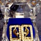 Gold Colored Jordan Rectangluar Earrings