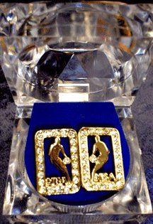 Gold Colored Jordan Rectangluar Earrings