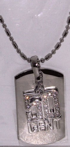 Silver Colored Blinged 50 Cent Dog Tag