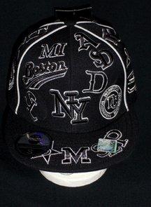Black and White NY Multi-Team BB Cap