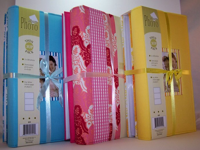 Twin Pack of Large Fabric Covered Photo Albums in Pink